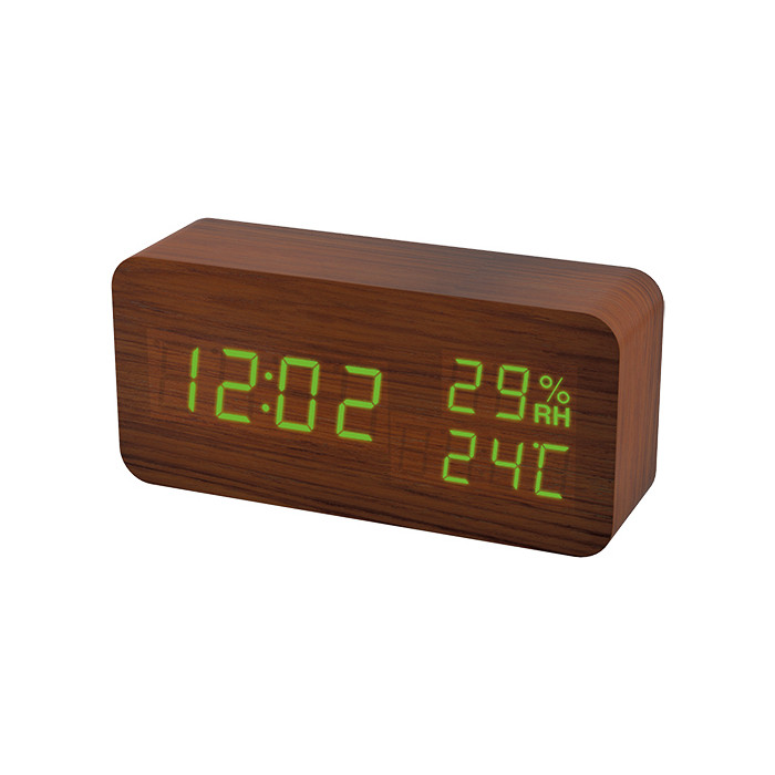 Радиобудильник Perfeo Wood коричневый корпус / зеленая подсветка