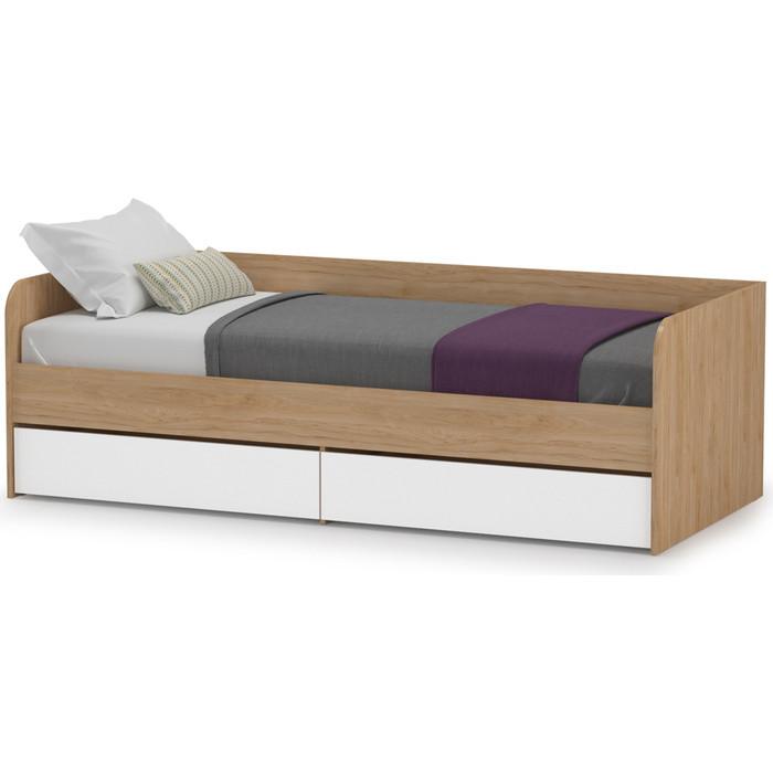 Кровать одинарная Моби Гравити 01.34 гикори рокфорд натуральный/белый премиум 90х200