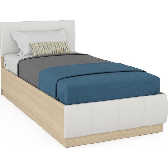 Кровать Моби Линда 303 90 + ортопед дуб сонома/белая искусственная кожа 90х200