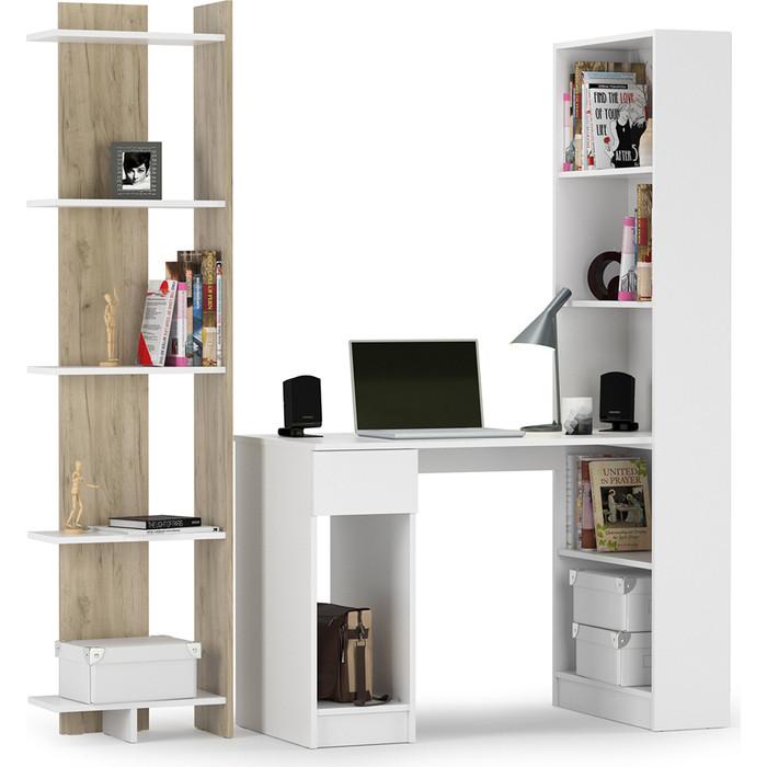 Комлект мебели Моби Лайт 10.01 + 10.125 белый/дуб крафт серый универсальная сборка