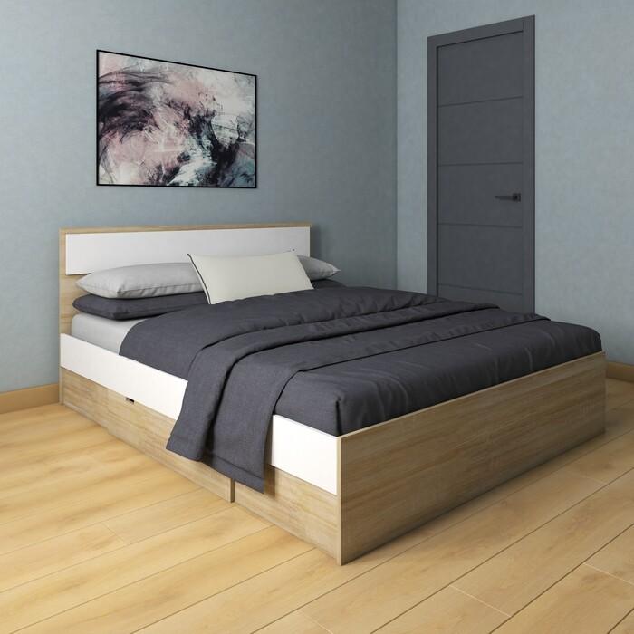 Кровать Атлант Некст 72 дуб сонома светлый/белая Аляска с ящиком