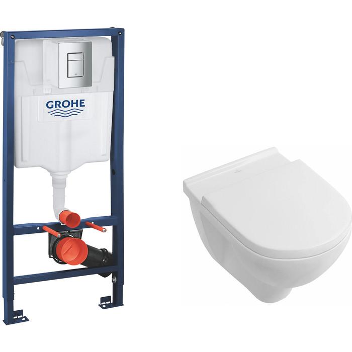 Комплект Villeroy Boch O Novo унитаз с сиденьем микролифт, инсталляция (38772001-5660H101)