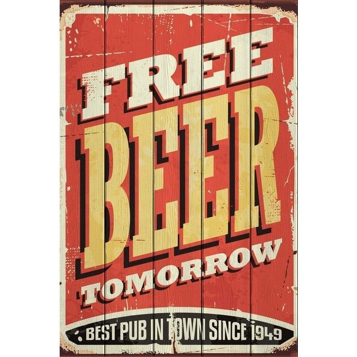 Картина на дереве Дом Корлеоне Free Beer Tomorrow 40x60 см