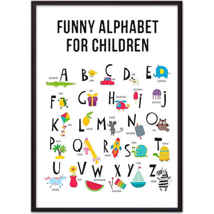 Постер в рамке Дом Корлеоне Английский алфавит 50x70 см