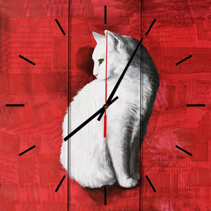 Настенные часы Дом Корлеоне Белая кошка 40x40 см