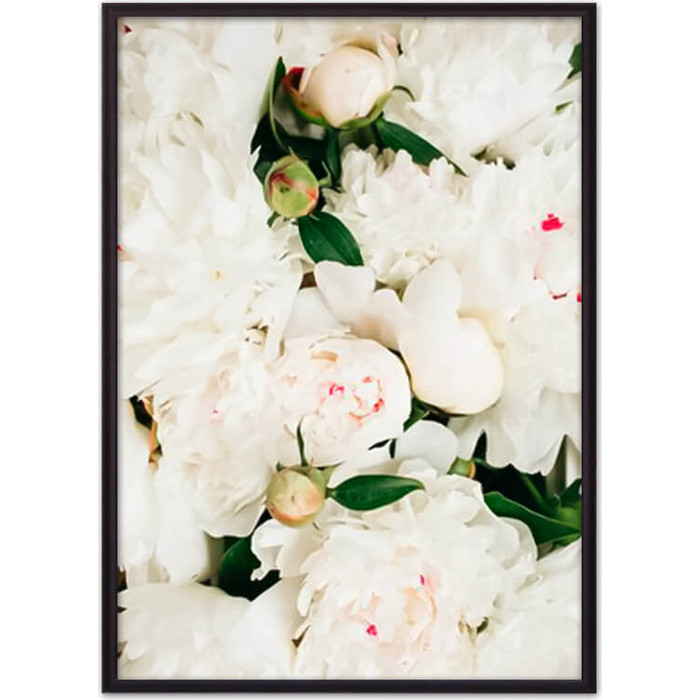 Постер в рамке Дом Корлеоне Белые пионы 30x40 см