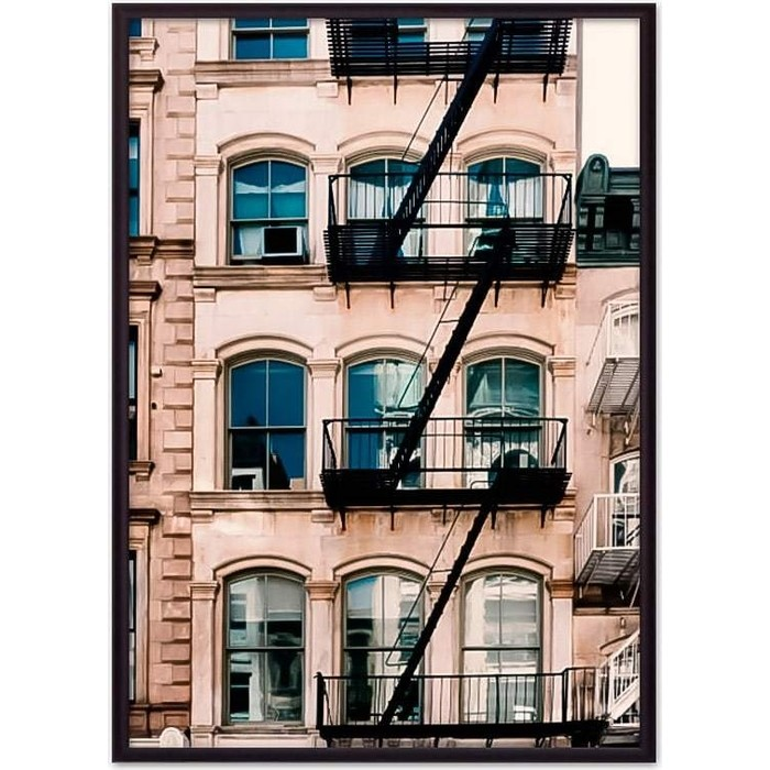 Постер в рамке Дом Корлеоне Белый дом с лестницей 50x70 см