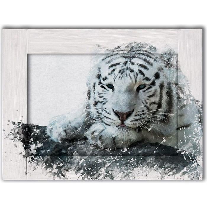 Картина с арт рамой Дом Корлеоне Белый тигр 60x80 см