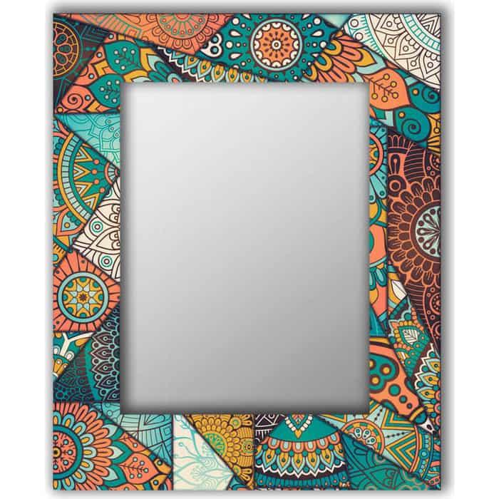 Настенное зеркало Дом Корлеоне Бирюзовый калейдоскоп 80x80 см