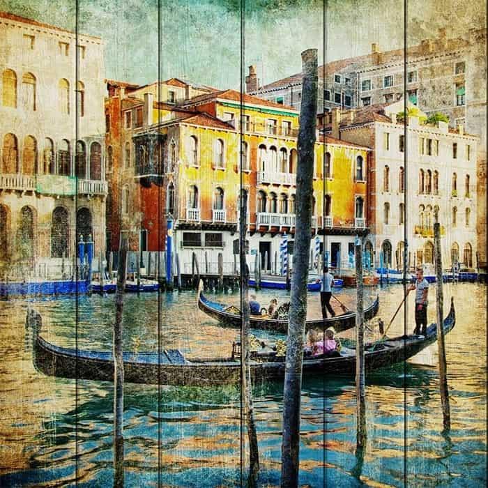 Картина на дереве Дом Корлеоне Венеция 120x120 см