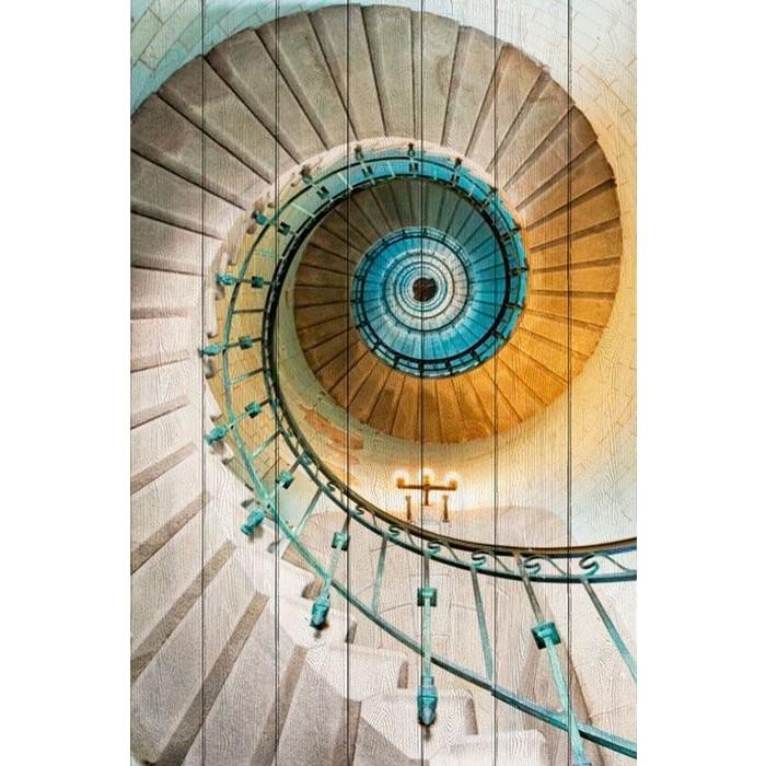 Картина на дереве Дом Корлеоне Винтовая лестница 100x150 см