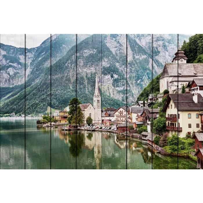 Картина на дереве Дом Корлеоне Гальштат Австрия 80x120 см