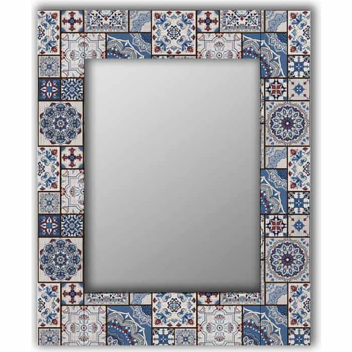 Настенное зеркало Дом Корлеоне Голубая плитка 80x80 см