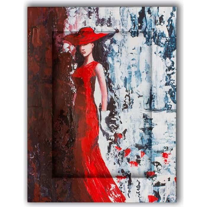 Картина с арт рамой Дом Корлеоне Дама в красном 80x100 см