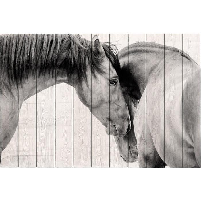 Картина на дереве Дом Корлеоне Две лошади 80x120 см