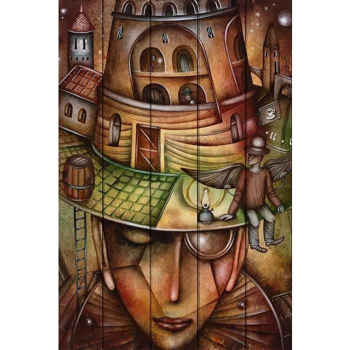 Картина на дереве Дом Корлеоне Девушка в шляпе 60x90 см
