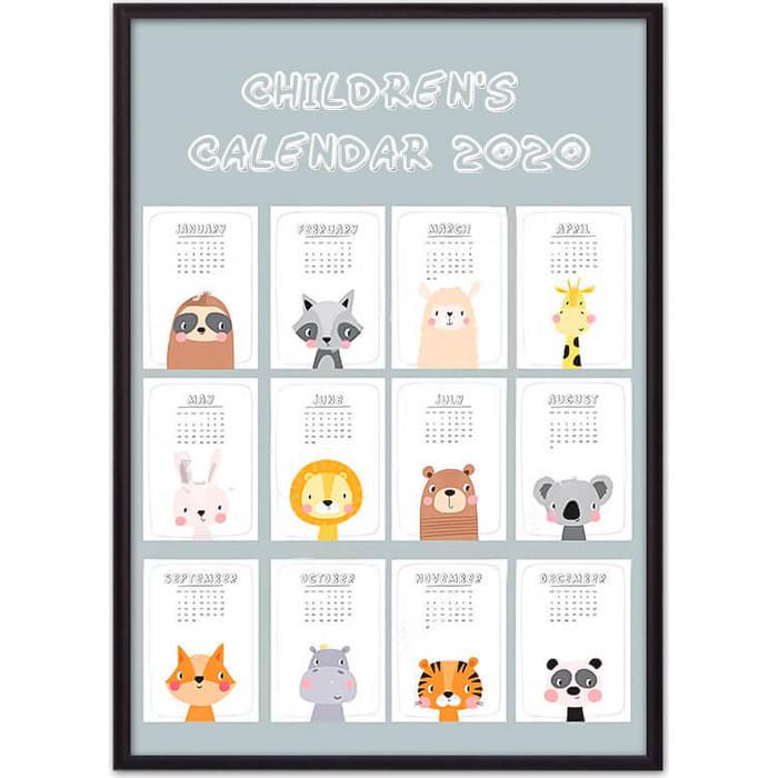 Постер в рамке Дом Корлеоне Детский календарь №2 50x70 см