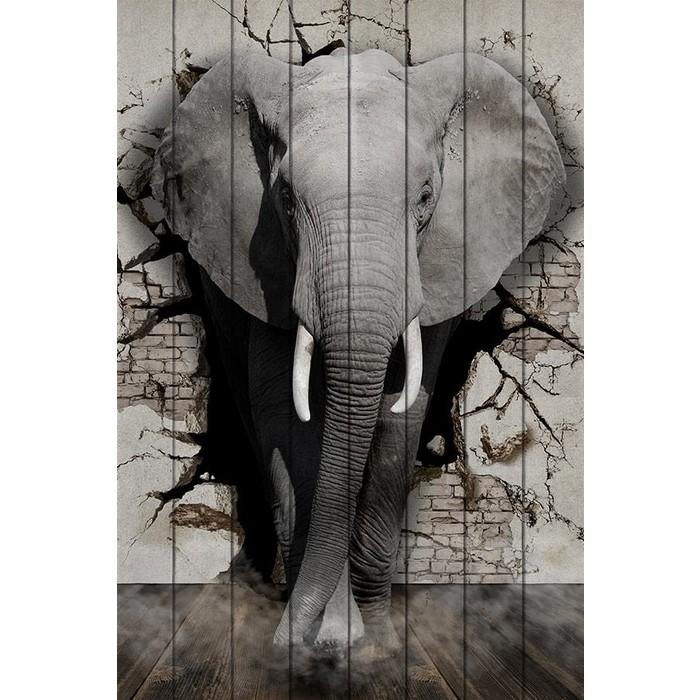Картина на дереве Дом Корлеоне Дикий слон 40x60 см