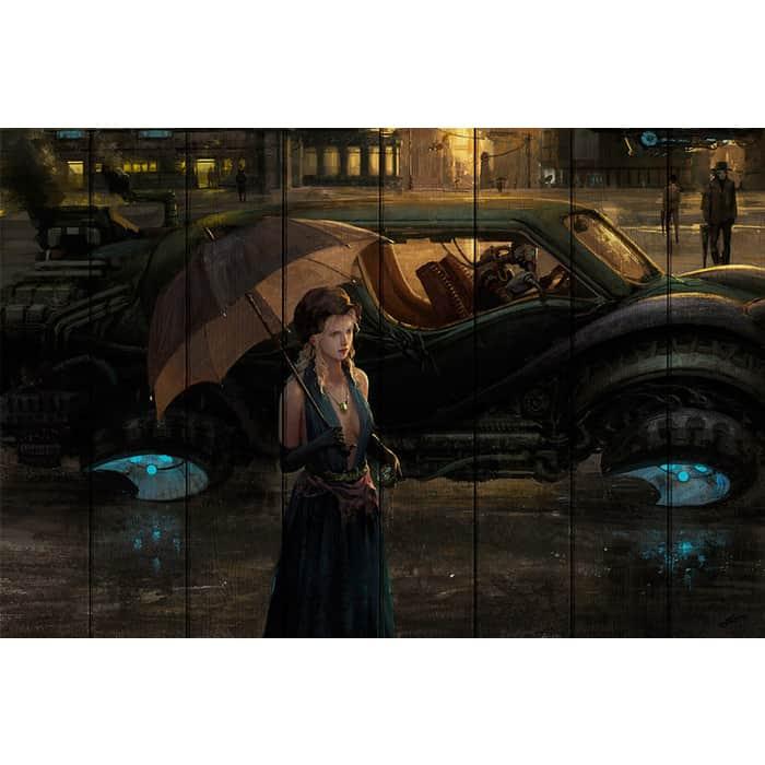 Картина на дереве Дом Корлеоне Дождливый вечер 100x150 см