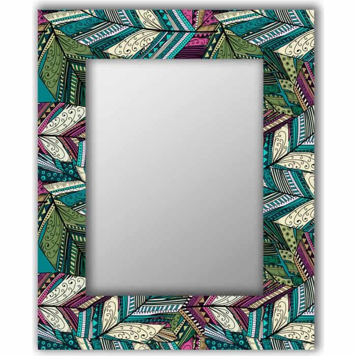 Настенное зеркало Дом Корлеоне Зеленые перья 60x60 см