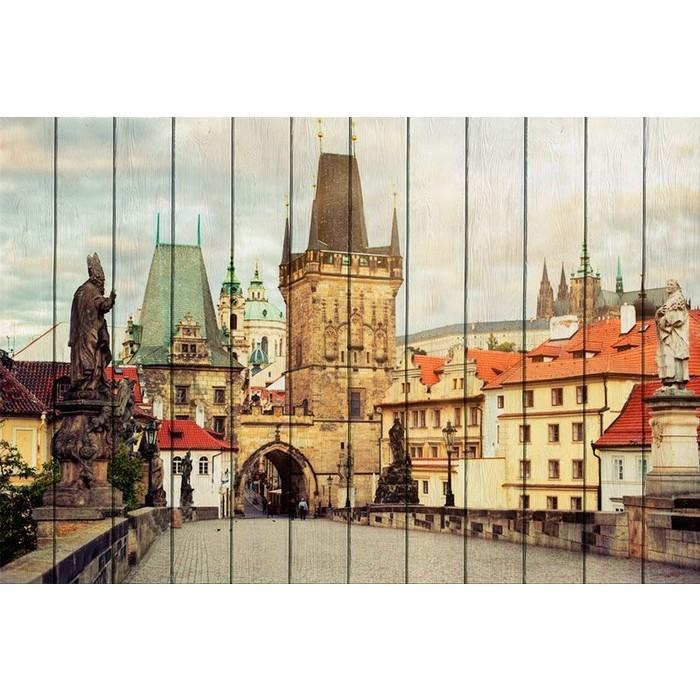 Картина на дереве Дом Корлеоне Карлов мост Прага 100x150 см