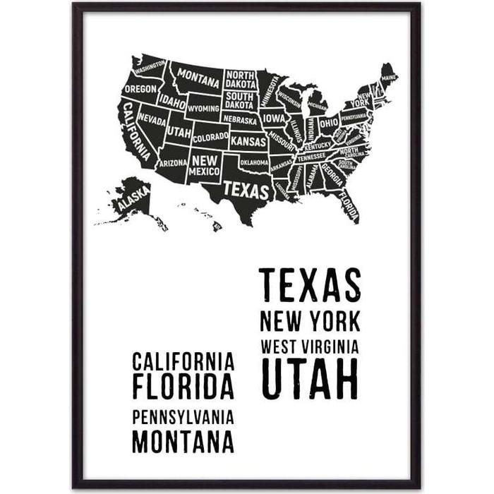 Постер в рамке Дом Корлеоне Карта Америки 50x70 см