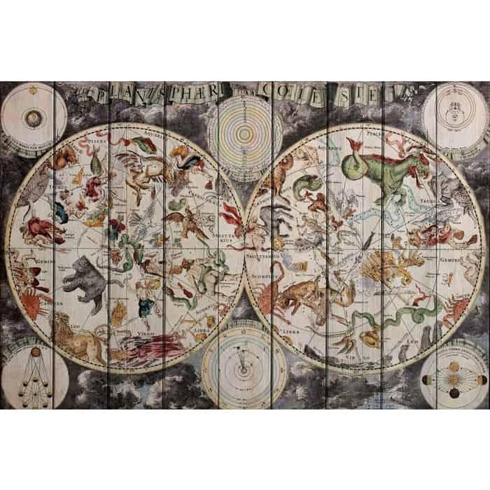 Картина на дереве Дом Корлеоне Карта Винтаж 60x90 см