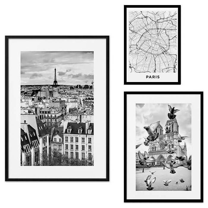 Набор из 3-х постеров Дом Корлеоне Коллаж Париж №27 21х30 см 1 шт., 30х40 40х60 1шт.