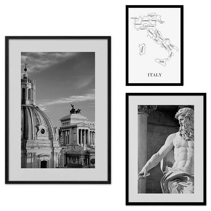Набор из 3-х постеров Дом Корлеоне Коллаж Рим №21 30х40 см 1 шт., 40х60 50х70 1шт.