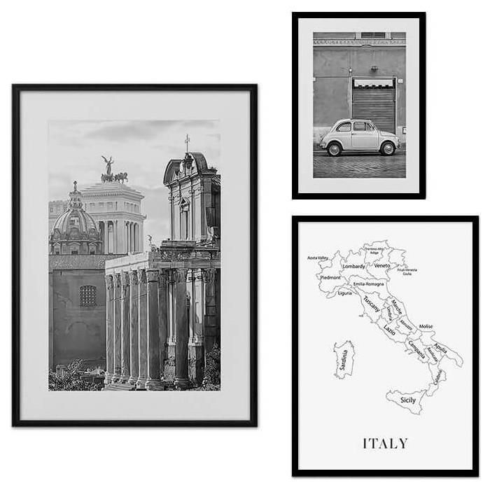 Набор из 3-х постеров Дом Корлеоне Коллаж Рим №32 21х30 см 1 шт., 30х40 40х60 1шт.