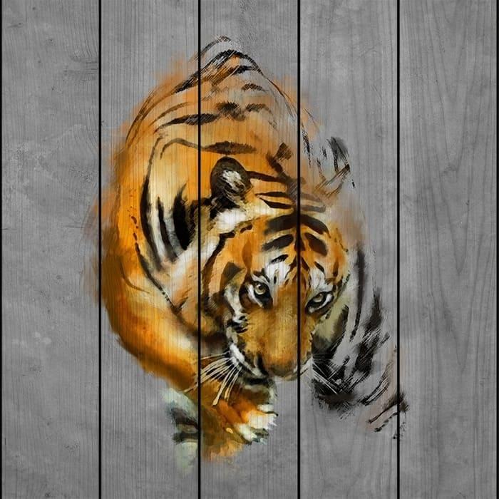 Картина на дереве Дом Корлеоне Крадущийся тигр 90x90 см картина на дереве дом корлеоне венеция 90x90 см