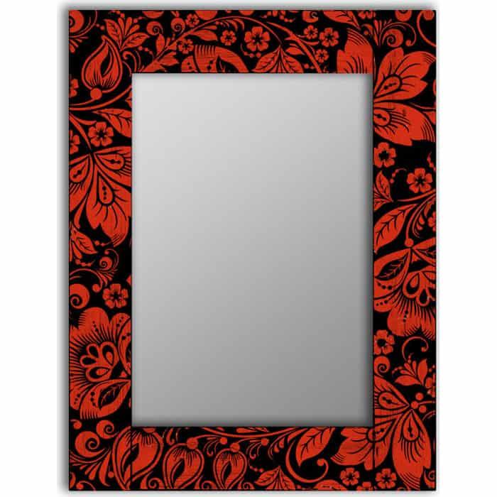 Настенное зеркало Дом Корлеоне Красные цветы 80x80 см