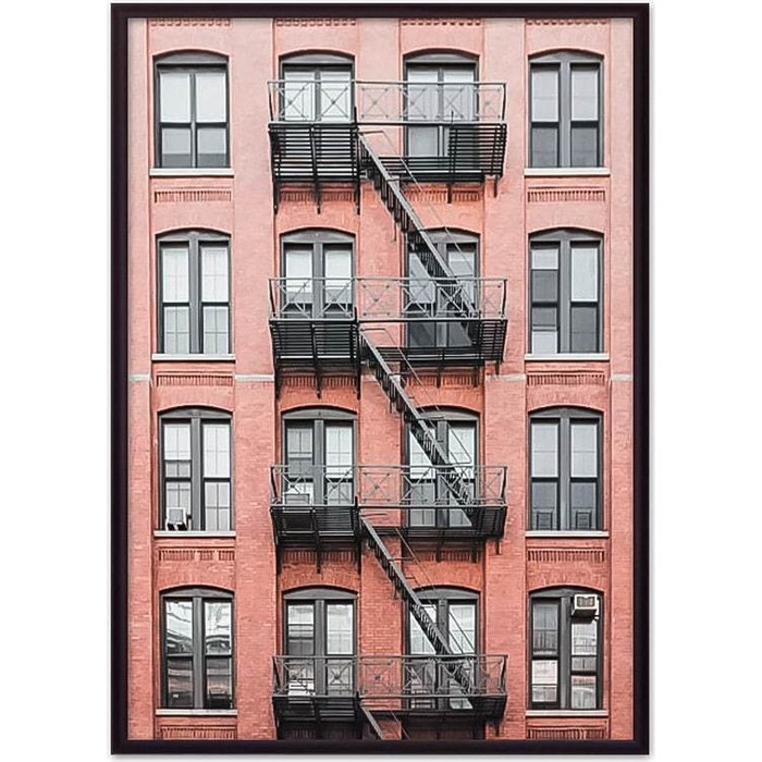 Постер в рамке Дом Корлеоне Красный дом с лестницей 50x70 см