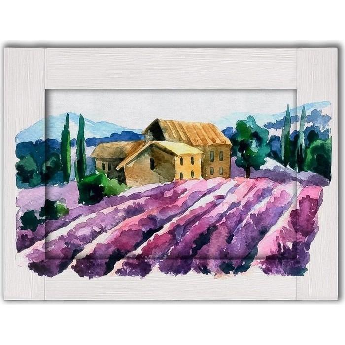 Картина с арт рамой Дом Корлеоне Лавандовое поле 70x90 см