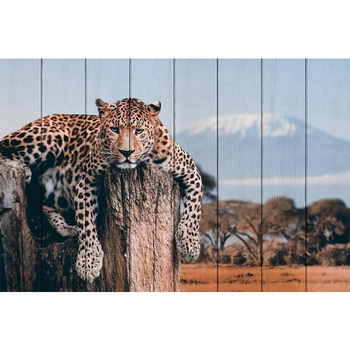 Картина на дереве Дом Корлеоне Леопард в прериях 80x120 см