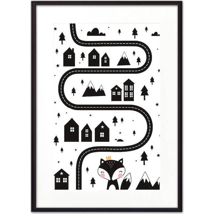Постер в рамке Дом Корлеоне Лисья тропа ЧБ 40x60 см