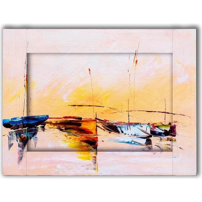 Картина с арт рамой Дом Корлеоне Лодки 70x90 см