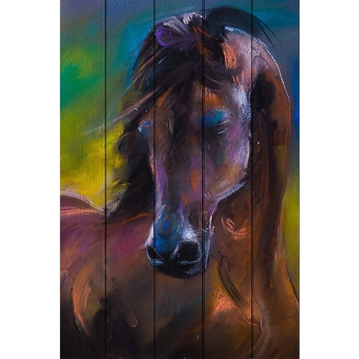 Картина на дереве Дом Корлеоне Лошадь Акварель 80x120 см