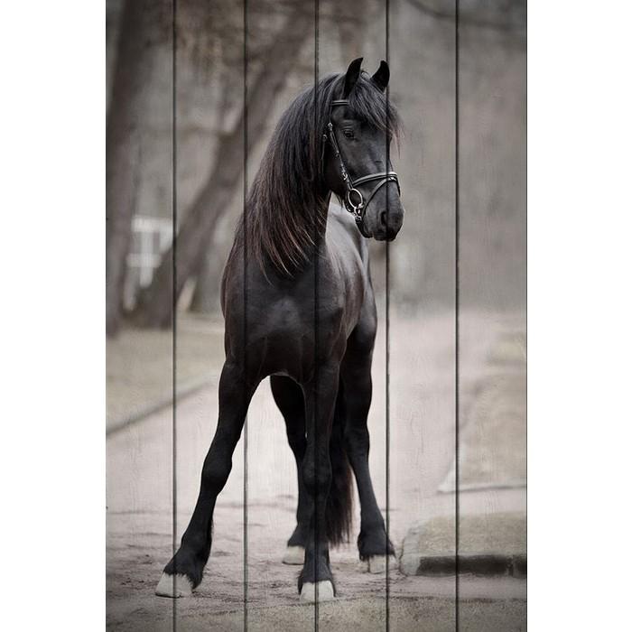 Картина на дереве Дом Корлеоне Лошадь дороге 100x150 см
