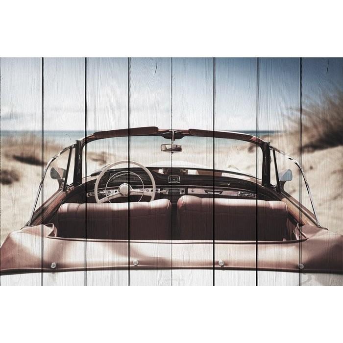 Картина на дереве Дом Корлеоне Машина пляже 80x120 см