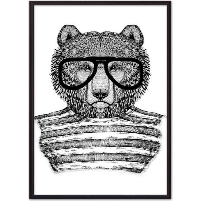 Постер в рамке Дом Корлеоне Медведь очках 50x70 см