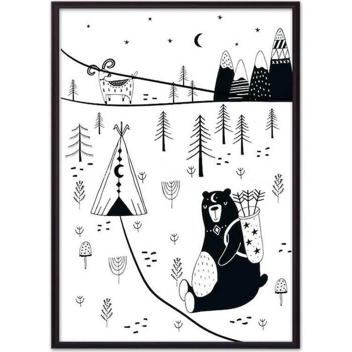 Постер в рамке Дом Корлеоне Медведь на охоте 50x70 см