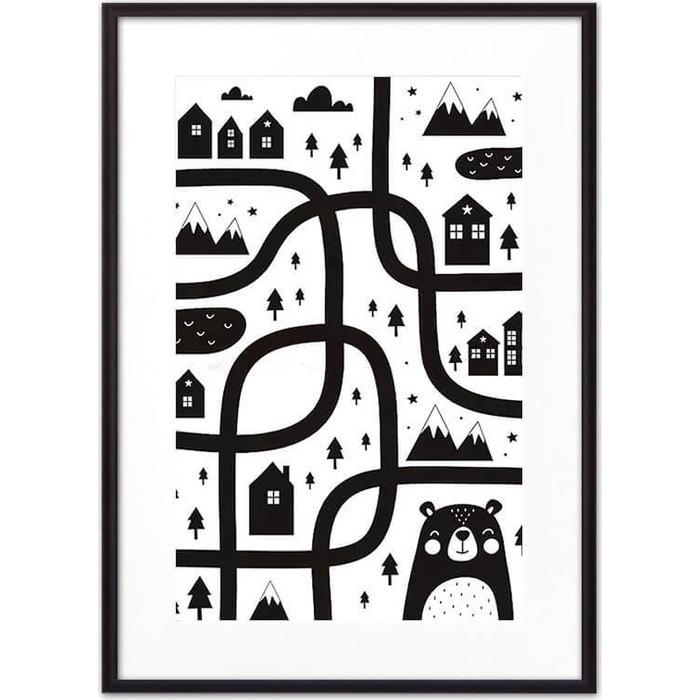Постер в рамке Дом Корлеоне Медвежья тропа ЧБ 21x30 см