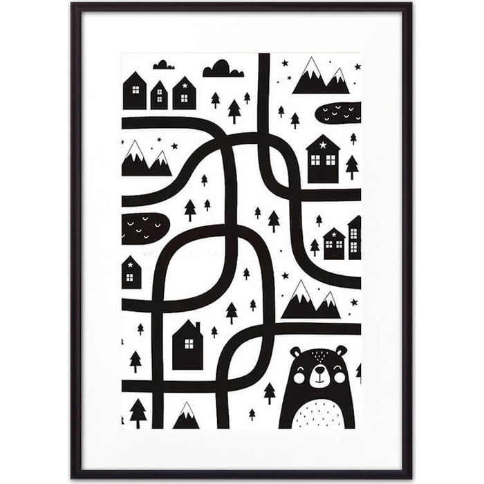 Постер в рамке Дом Корлеоне Медвежья тропа ЧБ 30x40 см