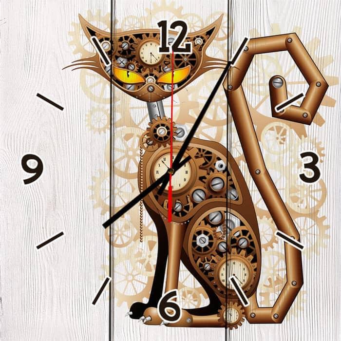 Настенные часы Дом Корлеоне Механический кот 50x50 см