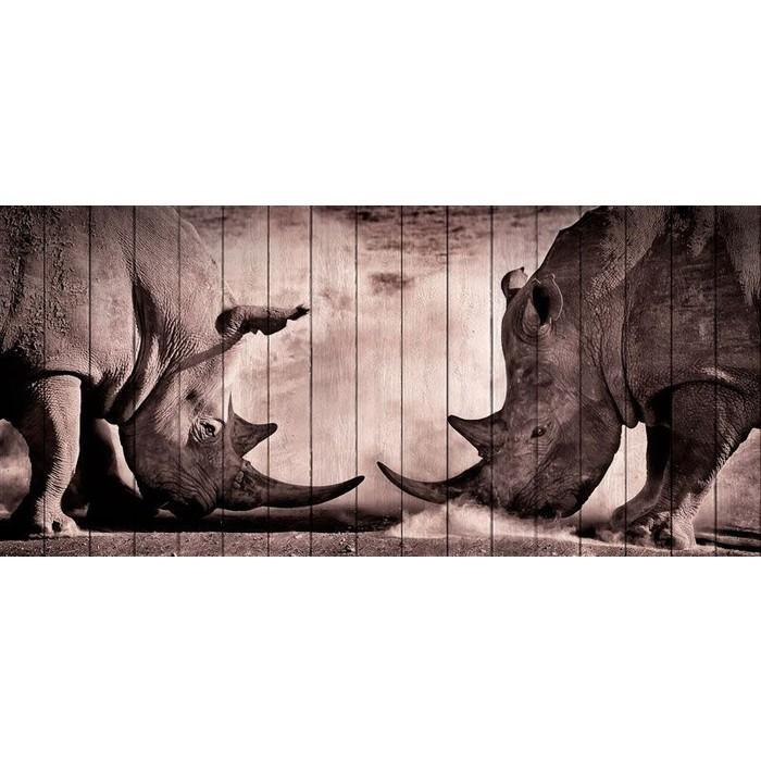 Картина на дереве Дом Корлеоне Носороги 70x150 см
