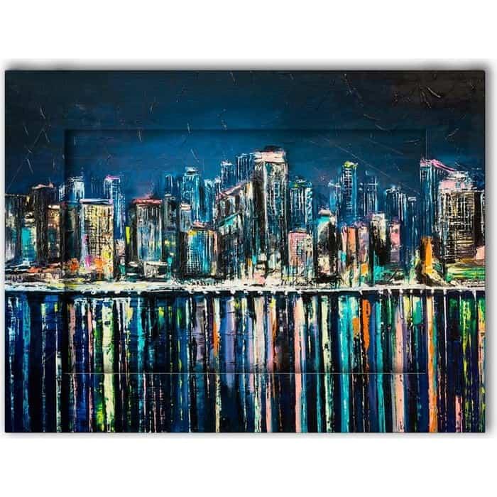 Картина с арт рамой Дом Корлеоне Ночной город 70x90 см
