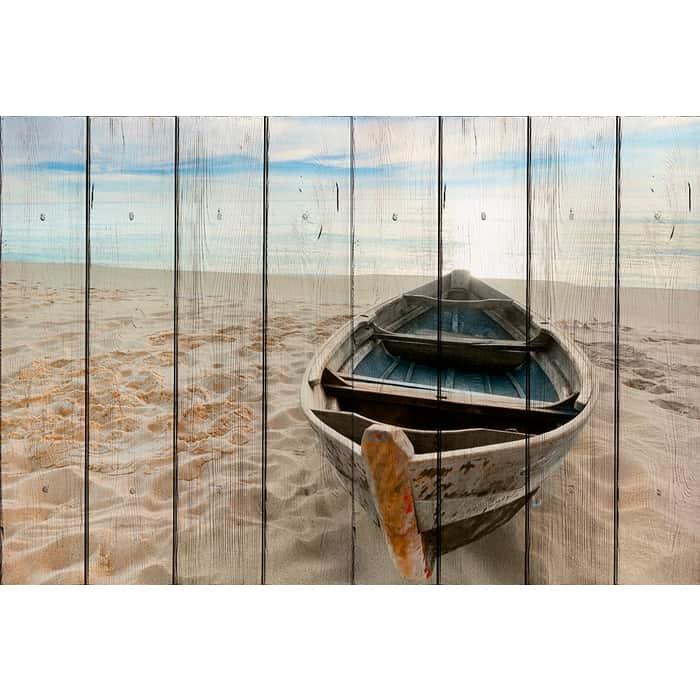 Картина на дереве Дом Корлеоне Одинокая лодка 100x150 см