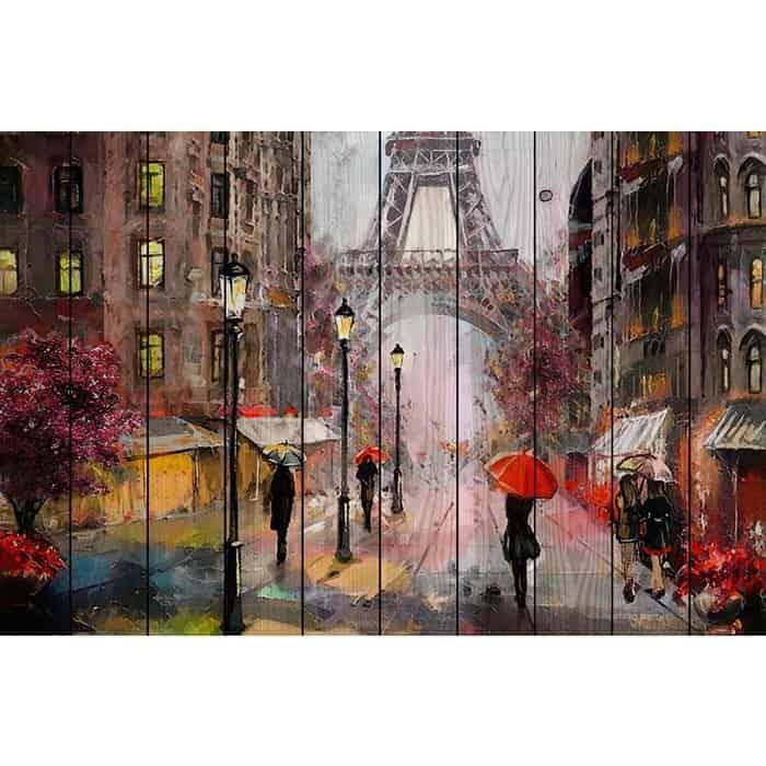 Картина на дереве Дом Корлеоне Парижские зонтики 40x60 см