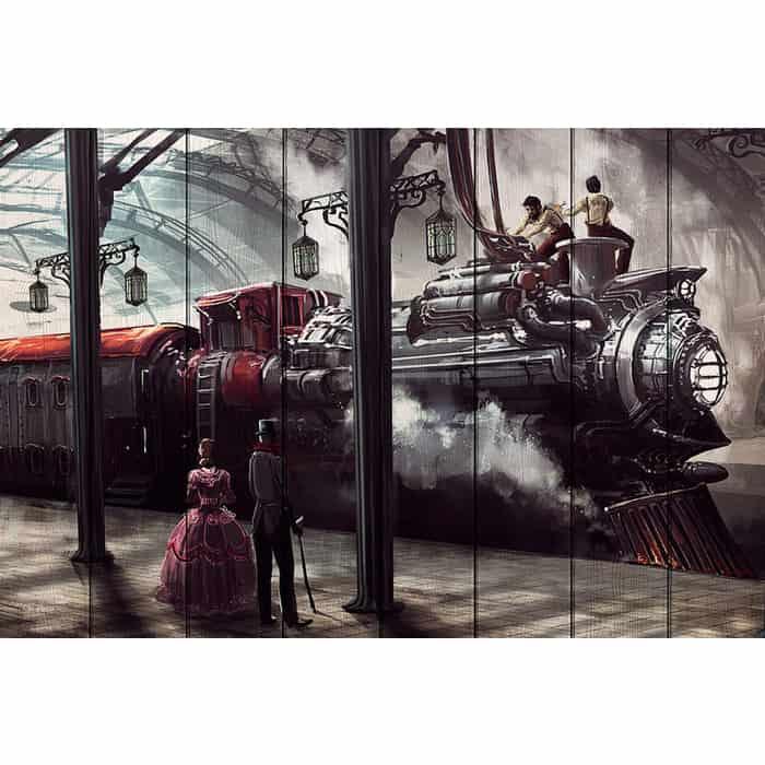 Картина на дереве Дом Корлеоне Поезд Стимпанк 60x90 см